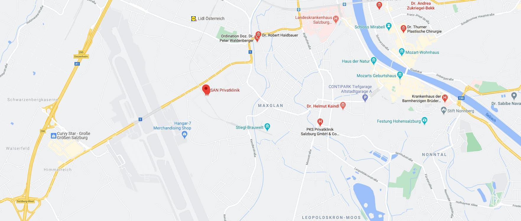 SAN Privatklinik Karte Salzburg